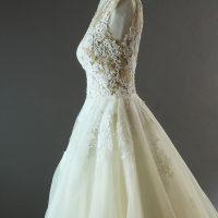 Emmanuella Pronovias détail profil la mariée à Bicyclette robe de mariée d'occasion