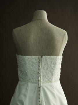 Francoise - Tomy Mariage - detail dos - la mariée à Bicyclette - robe de mariée occasion
