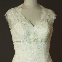 Diane - Tomy mariage - detail devant - la mariée à Bicyclette - robe de mariée occasion
