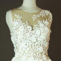 Diouma - Pronovias - Taciana - La mariee à bicyclette - robe de mariée occasion - detail devant