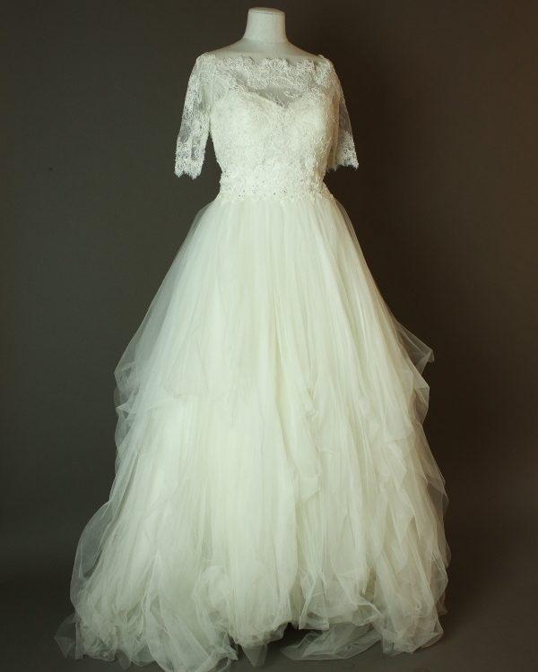 Fadia - Sincerity - La mariée à bicyclette - robe de mariée occasion - devant top dentelle